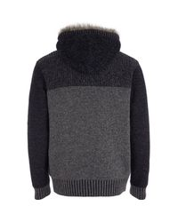 River Island Blue Navy Borg Lined Colour Block Knitted Hoodie for men