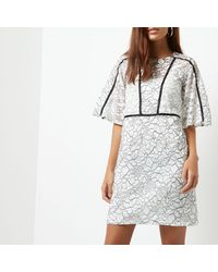 River Island - White Floral Lace Flared Sleeve Dress - Lyst