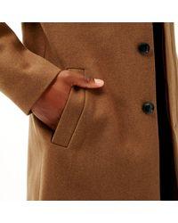 River Island - Brown Smart Wool Overcoat for Men - Lyst