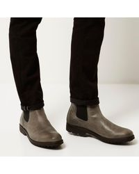 River Island - Gray Grey Leather Cleated Sole Chelsea Boots for Men - Lyst