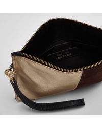 River Island Yellow Gold Metallic Panel Small Pouch Clutch Bag