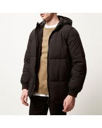 River Island - Black Casual Padded Winter Coat for Men - Lyst