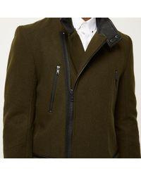 River Island - Green Smart Wool-blend Winter Coat for Men - Lyst