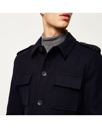 River Island - Blue Navy Wool-blend Smart Military Coat for Men - Lyst