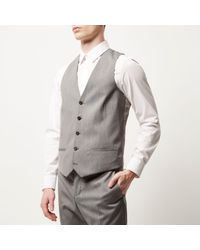 River Island - Gray Grey Smart Slim Waistcoat for Men - Lyst