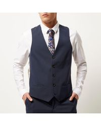 River Island - Blue Navy Smart Slim Waistcoat for Men - Lyst