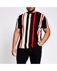 River Island Big And Tall Red Stripe T-shirt for men