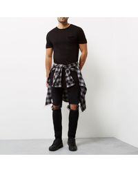 River Island - Black Draped Asymmetric Longline T-shirt for Men - Lyst