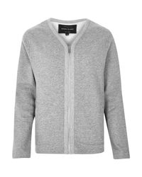 River Island - Gray Grey Zip-up Sweater Style Cardigan for Men - Lyst
