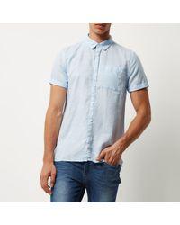 River Island Light Blue Linen-rich Short Sleeve Shirt for men