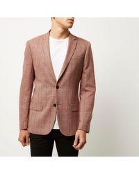River Island - Blue Pink Checked Slim Fit Blazer for Men - Lyst