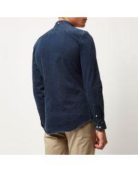 River Island Dark Blue Wash Denim Shirt for men