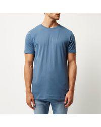 River Island Blue Longline T-shirt for men