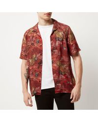 River Island Red Tiger Print Short Sleeve Shirt for men
