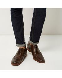 River Island Dark Brown Leather Brogues for men