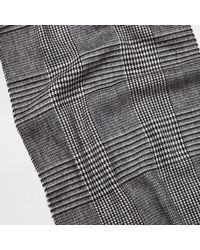 River Island - Gray Grey Prince Of Wales Tartan Scarf for Men - Lyst