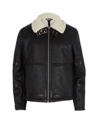 River Island | Black Faux Leather Aviator Jacket for Men | Lyst