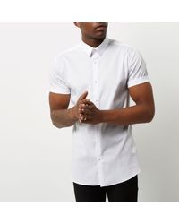 River Island White Muscle Fit Short Sleeve Shirt for men