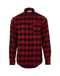 River Island | Red Casual Buffalo Check Flannel Shirt for Men | Lyst