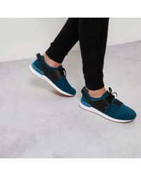 River Island - Blue Contrast Textured Trainers for Men - Lyst
