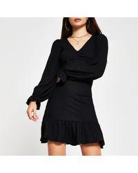 River Island Black Long Sleeve Frill Hem Mini Dress