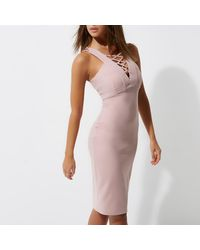 River Island Light Pink Lace-up Front Bodycon Midi Dress