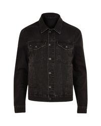 River Island   Black Wash Distressed Denim Jacket for Men   Lyst