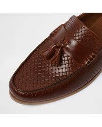 River Island Brown Embossed Weave Tassel Loafers for men