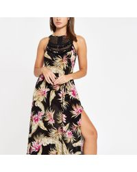 River Island Black Palm Print Tassel Trim Beach Dress