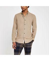 River Island Natural Flannel Plain Long Sleeve Shirt for men