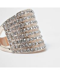 River Island | Metallic Rose Gold Tone Stacked Chunky Diamante Ring | Lyst