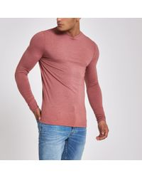b4300bb557e1 River Island Light Muscle Fit Long Sleeve T-shirt in Pink for Men - Lyst