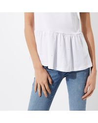 River Island White Faux Pearl Embellished Peplum T-shirt