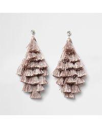 River Island - Natural Nude Tassel Drop Earrings Nude Tassel Drop Earrings - Lyst