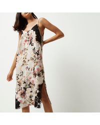 River Island Natural Floral Print Slip Dress