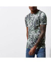 River Island - Green Jack & Jones Vintage Tropical T-shirt for Men - Lyst