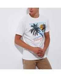 River Island White Jack & Jones Palm Tree Print T-shirt for men