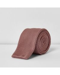 River Island Pink Knitted Tie for men