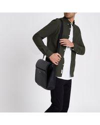 River Island - Black Embossed Satchel Bag for Men - Lyst