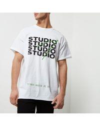 River Island - White Oversized Fit 'studio' Print T-shirt for Men - Lyst