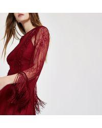 River Island Red Dark Mesh Lace Fringe Occasion Dress
