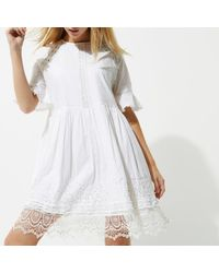 River Island White Lace Trim Smock Dress
