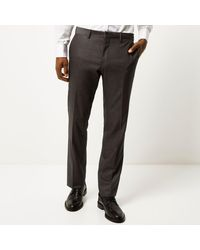 River Island Gray Wool-blend Slim Suit Trousers for men