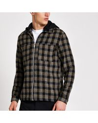 River Island Black Check Regular Fit Hooded Overshirt for men