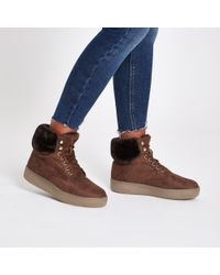 River Island - Brown Lace-up Faux Fur Trims Boots - Lyst