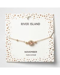 River Island | Orange Gem November Birthstone Bracelet | Lyst