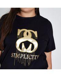 River Island Plus Black 'simplicite' Foil Print T-shirt Plus Black 'simplicite' Foil Print T-shirt