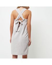 River Island Gray Light Grey Marl Metal Ring Cami Dress