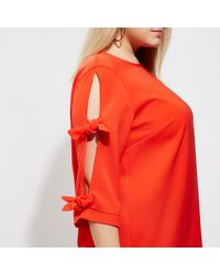 River Island Plus Red Bow Sleeve Shift Dress