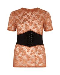 River Island Brown Embroidered Corset Front Fitted T-shirt